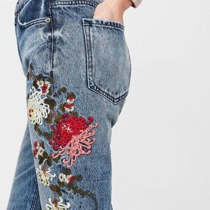 Express High-Waisted Embroidery Girlfriend Jeans 4